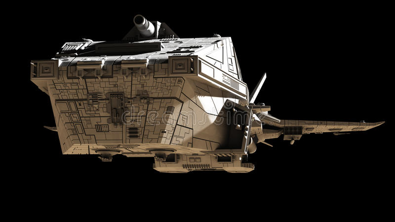 Science fiction Interplanetair Ruimteschip - Front Angled View royalty-vrije illustratie
