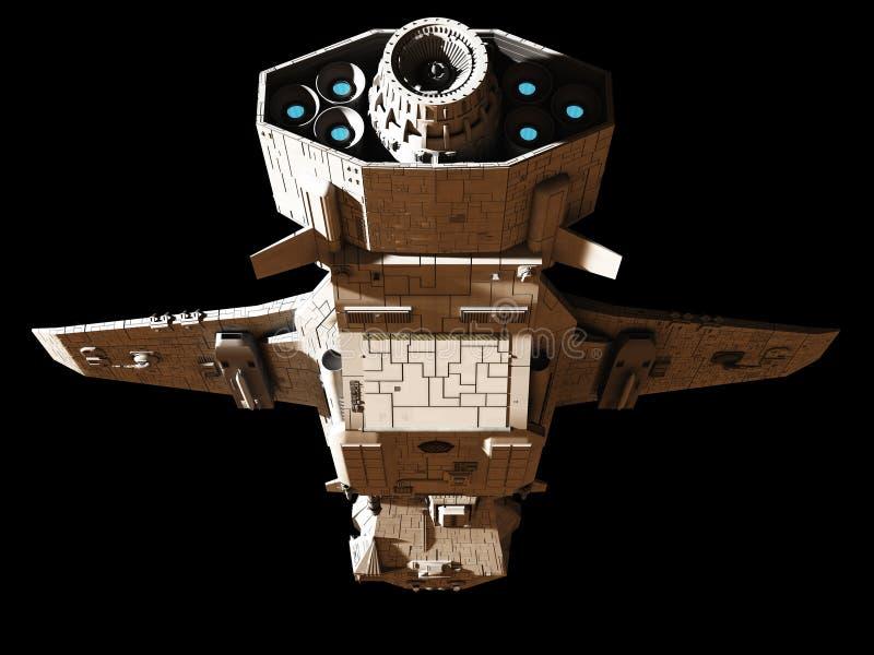 Science fiction Interplanetair Ruimteschip - onderaan Achtermening stock illustratie