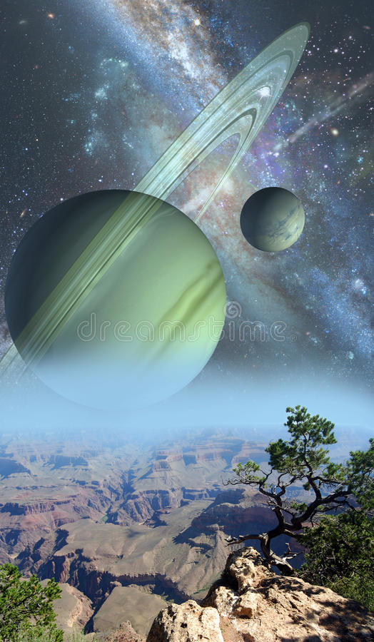 Science fiction landscape. Ring planet and satellites, with the cosmos at the background, above a desolated planet with some vegetation stock image