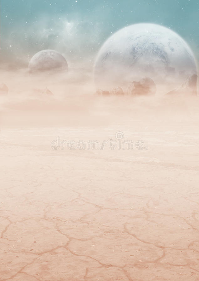 Download Science-fiction Landscape With Two Plane Stock Illustration - Image: 23709454