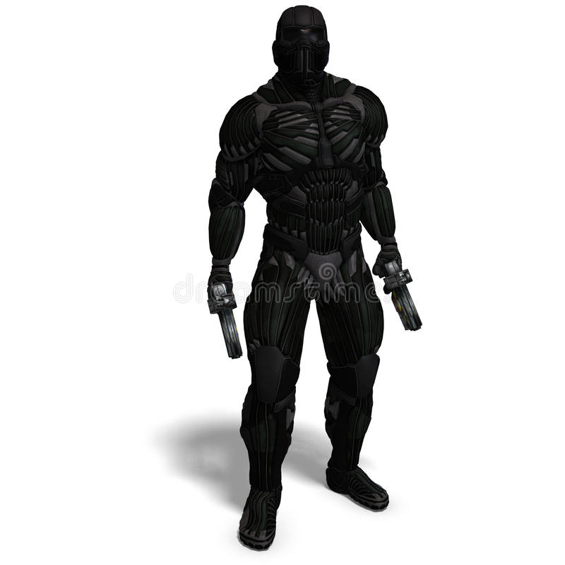 Science fiction male character in futuristic suit royalty free illustration