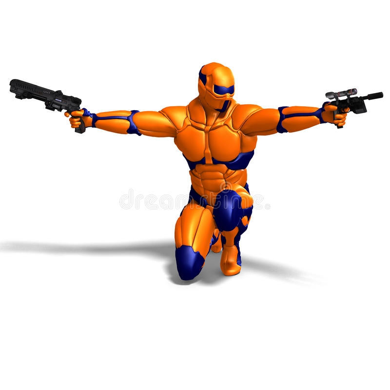 Science fiction male character in futuristic suit vector illustration