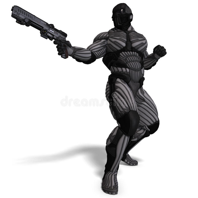 Download Science Fiction Male Character In Futuristic Suit Stock Illustration - Illustration of machine, braver: 15548799