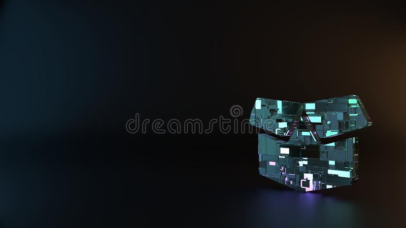 science fiction metal symbol of box open icon render stock image