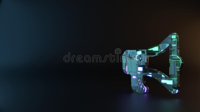 Science fiction metal symbol of bullhorn icon render. Science fiction metal neon blue violet glowing symbol of bullhorn render machinery with blurry reflection stock images