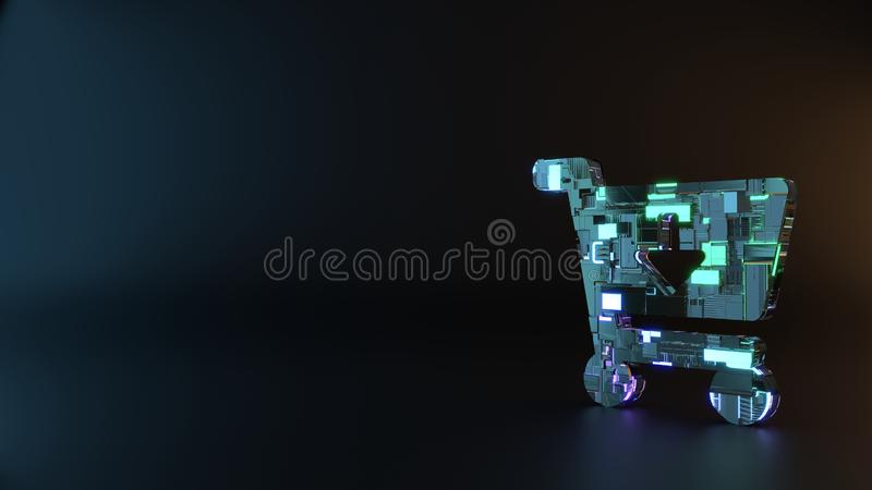science fiction metal symbol of cart arrow down icon render royalty free stock images