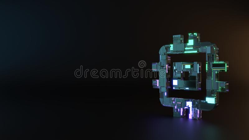 science fiction metal symbol of computer icon render royalty free stock photography