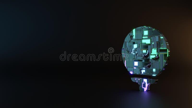 science fiction metal symbol of golf ball icon render stock illustration