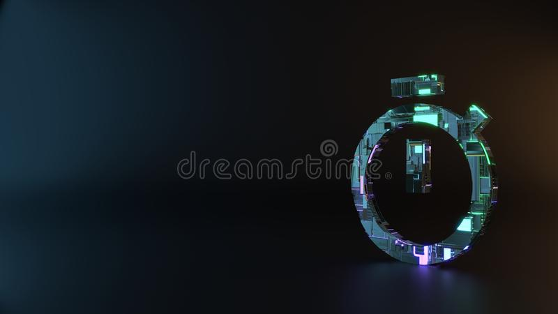 science fiction metal symbol of stopwatch icon render royalty free stock photo