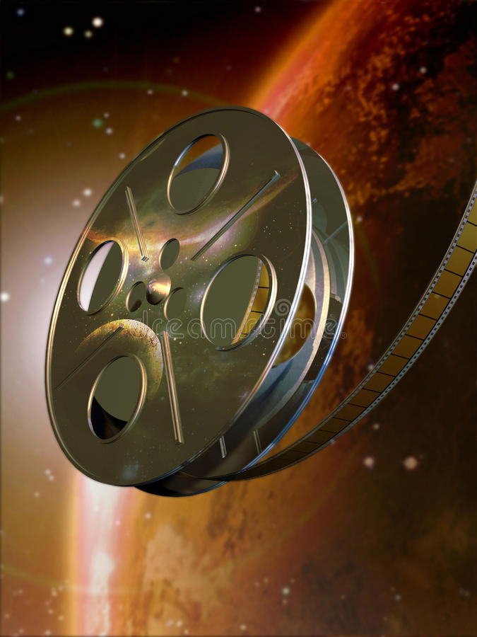 Science fiction movie. A composition representing a film roll with a reflected image of the cosmos at the foreground of that same blur image. Can be used as vector illustration