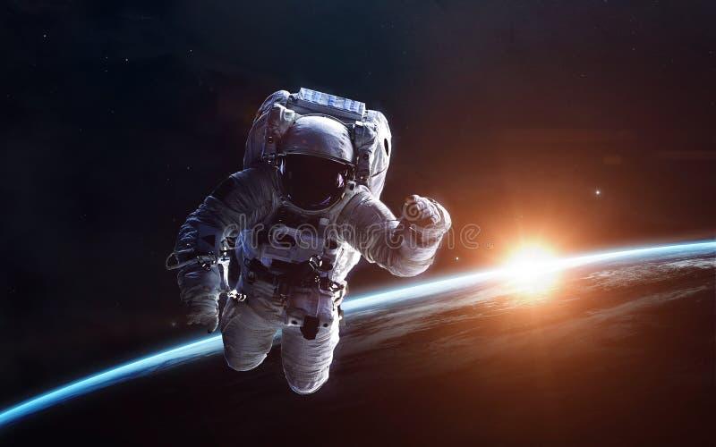 Science fiction ruimtebehang, ongelooflijk mooie planeten, melkwegen Elementen van dit die beeld door NASA wordt geleverd stock fotografie