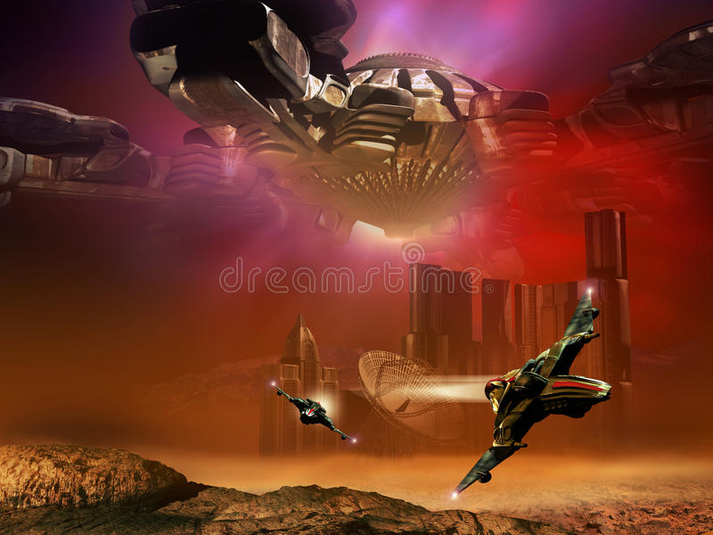 Science fiction scene. On a rocky orange planet, futuristic city, a gigantic spaceship over it, surrounded by red, violet and blue lights, and two fighter