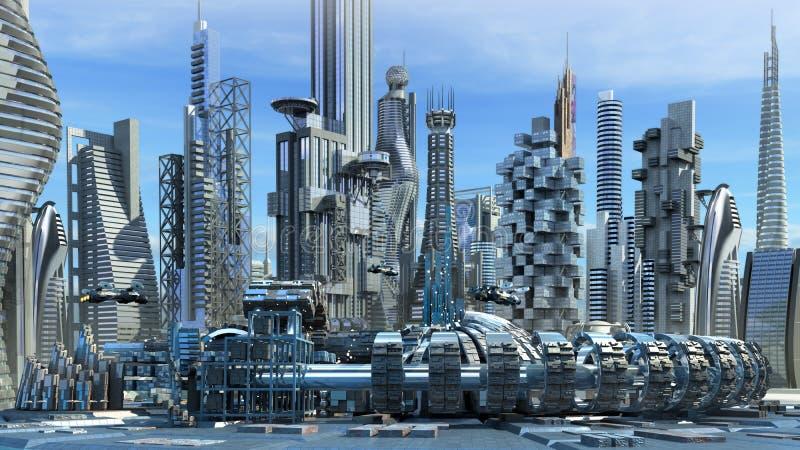 Science fiction skyline stock illustration