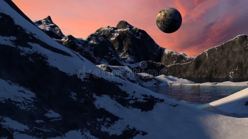 Science Fiction Space Planet Scene stock illustration