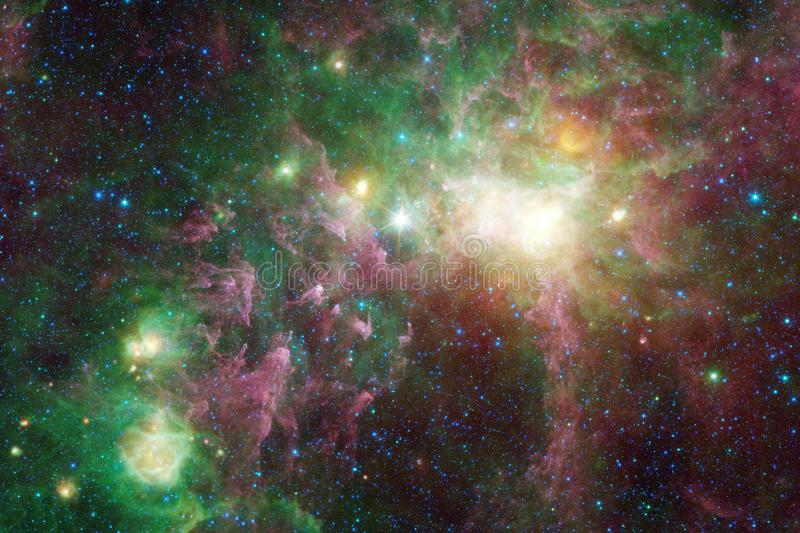 Science fiction space wallpaper, galaxies and nebulas in awesome cosmic image. Elements of this image furnished by NASA vector illustration