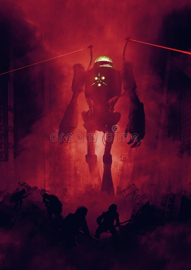 Science fiction war scene with giant robot and soldiers royalty free illustration