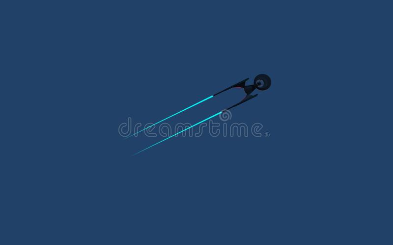 Science Fictional image of a starship in deep space and blue background. Wallpeprer stock illustration