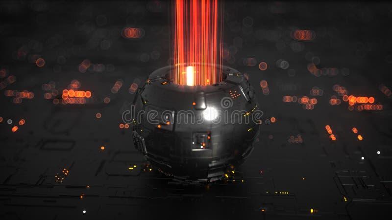 Science fictionapparat med energiströmmen 3D att framföra illustrationen vektor illustrationer
