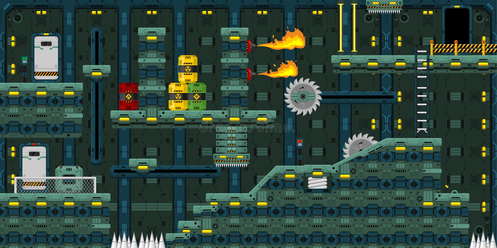 Science fictionfabrik Platformer Tileset vektor illustrationer