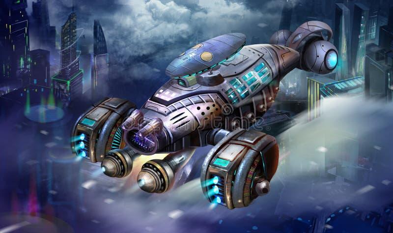 Science fictionflygplan, den räkarymdskepp-, sciencerymdskepp- och stadsplatsen med fantastisk, realistisk och futuristisk stil stock illustrationer