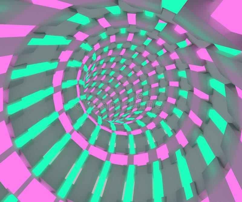 Science fictionillustration av ett flyg till och med tunnelen Neonröret 3D framför design vektor illustrationer