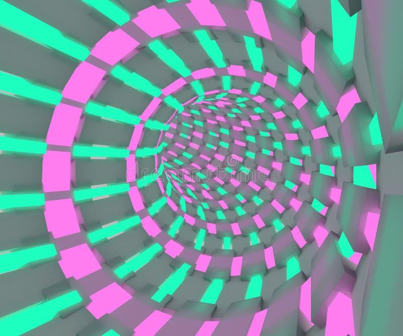 Science fictionillustration av ett flyg till och med tunnelen Neonröret 3D framför design stock illustrationer