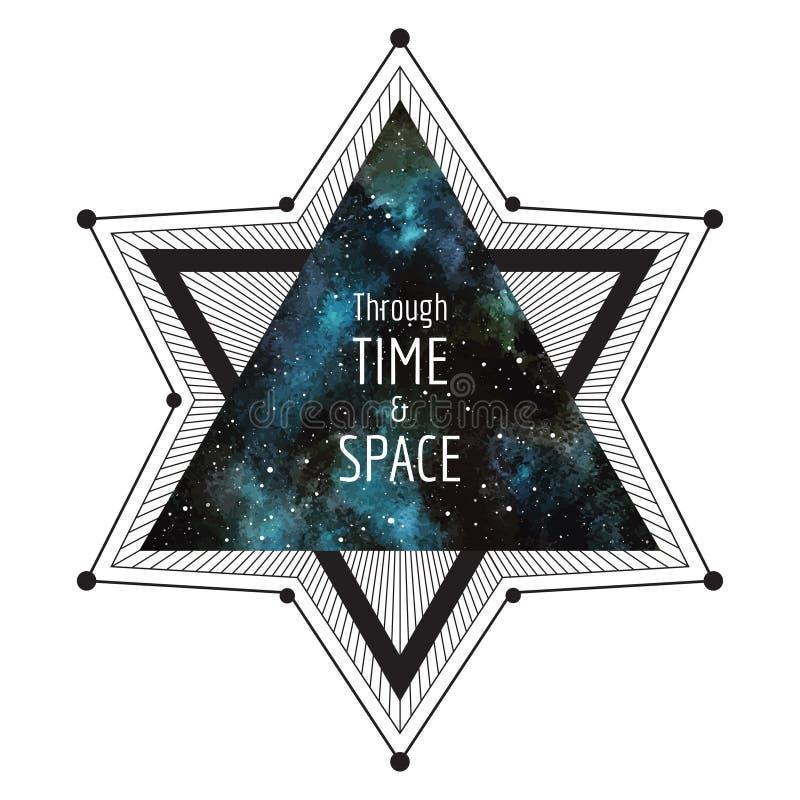 Science fictionillustration Stor stjärna med triangeln för vattenfärgnatthimmel vektor illustrationer