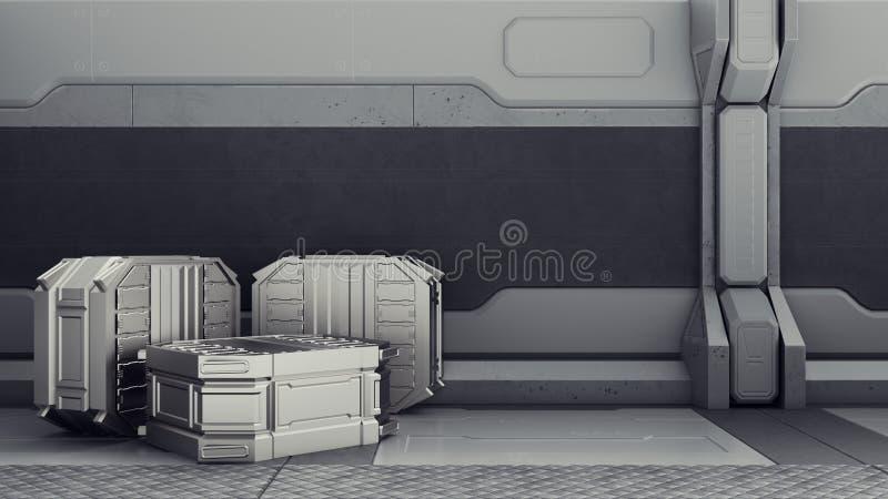 Science fictionlager var behållare lagras Science fictionlager var behållare lagras Arsenal på ett rymdskepp stock illustrationer