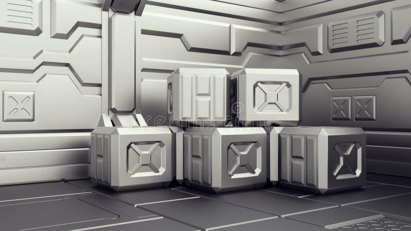 Science fictionlager var behållare lagras Science fictionlager var behållare lagras Arsenalen på ett rymdskepp 3d framför vektor illustrationer