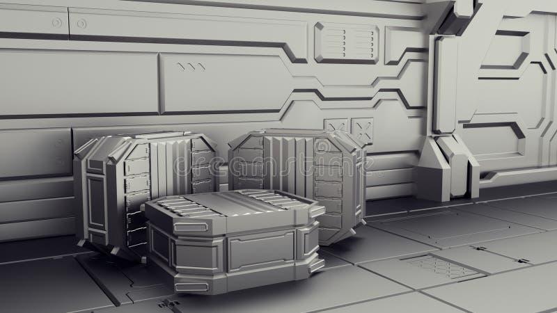 Science fictionlager var behållare lagras Laboratorium på ett rymdskepp 3d framför royaltyfri illustrationer