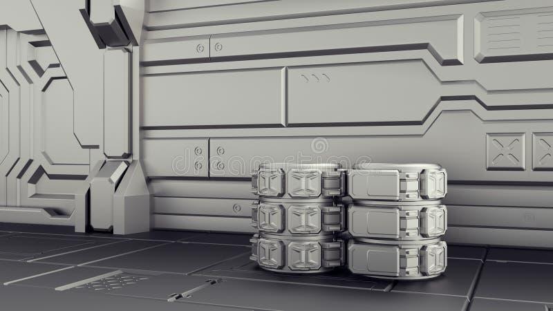 Science fictionlager var behållare lagras Laboratorium på ett rymdskepp 3d framför vektor illustrationer