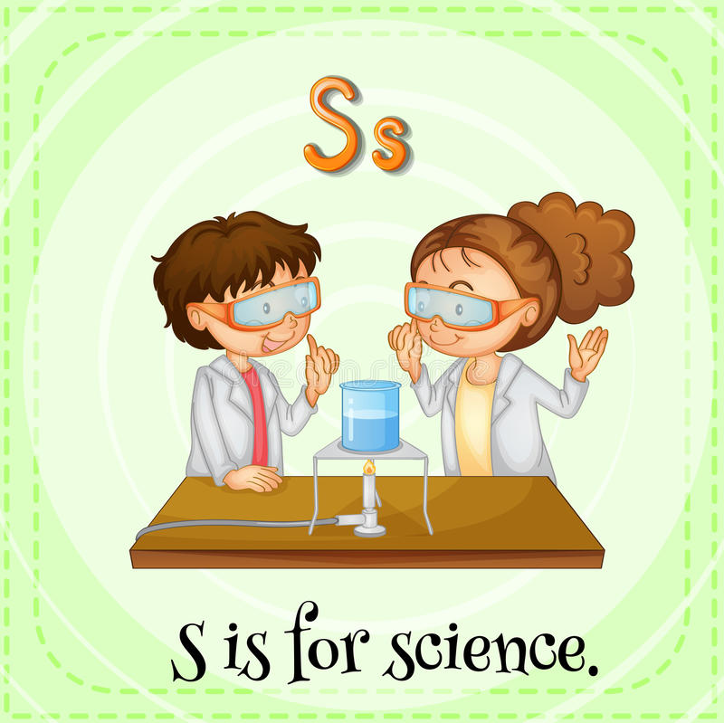 Science. Flashcard letter S is for science royalty free illustration