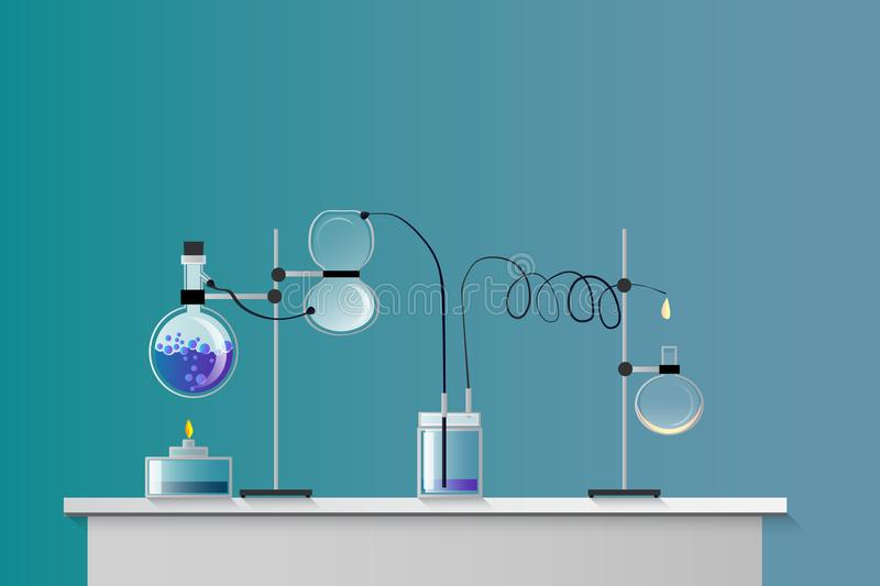 Science flat concept class vector illustration. A chemistry lab royalty free illustration