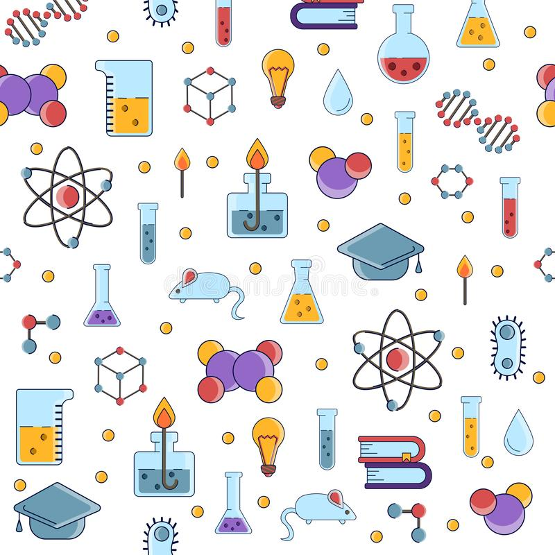Science flat seamless pattern with scientific elements - molecule, atom structure, flask, glass, water and other on one vector illustration