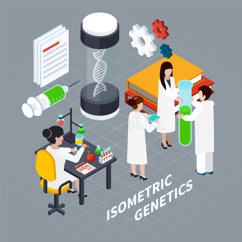 Science And Genetics Isometric Concept vector illustration