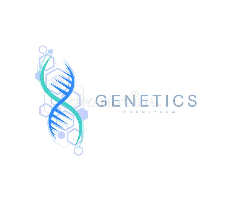 Science genetics logo, DNA helix. Genetic analysis, research biotech code DNA. Biotechnology genome chromosome. Vector. Illustration stock illustration