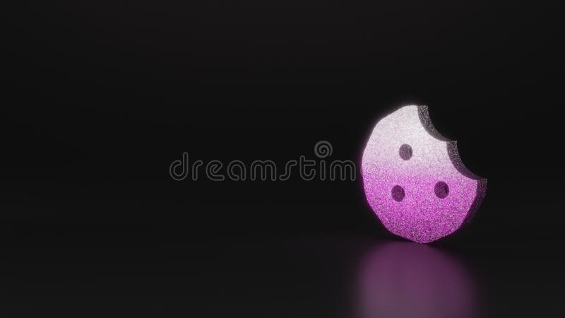 Science glitter symbol of cookie bite icon 3D rendering. Glitter pink silver symbol of cookie with bite 3D rendering on black background with blurred reflection royalty free illustration