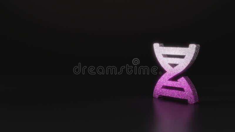 science glitter symbol of dna icon 3D rendering stock illustration