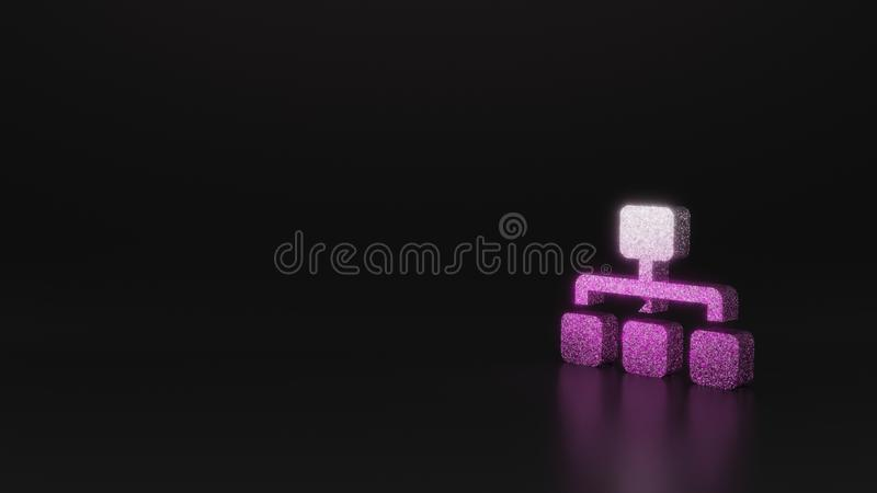 Science glitter symbol of sitemap icon 3D rendering. Glitter pink silver symbol of network from one main and three other rectangles 3D rendering on black vector illustration