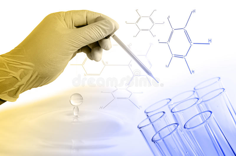 Science hand holding laboratory test tubes royalty free stock images