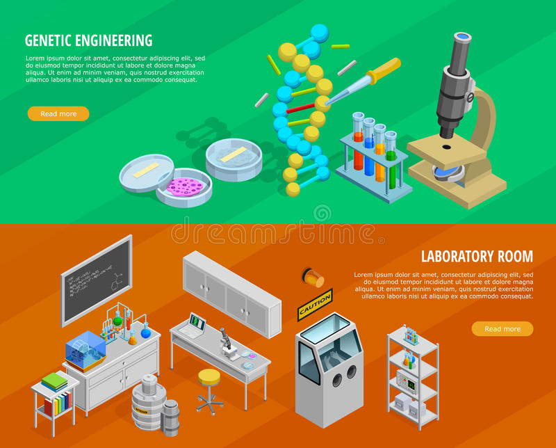 Science Horizontal Banners Set vector illustration