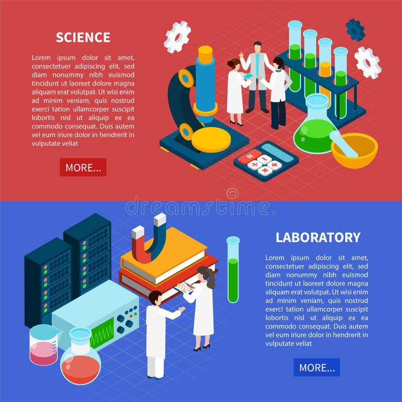 Science Horizontal Banners Set stock illustration