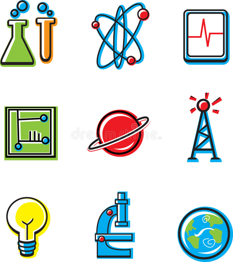 Science Icons. 9 science icons in the same style