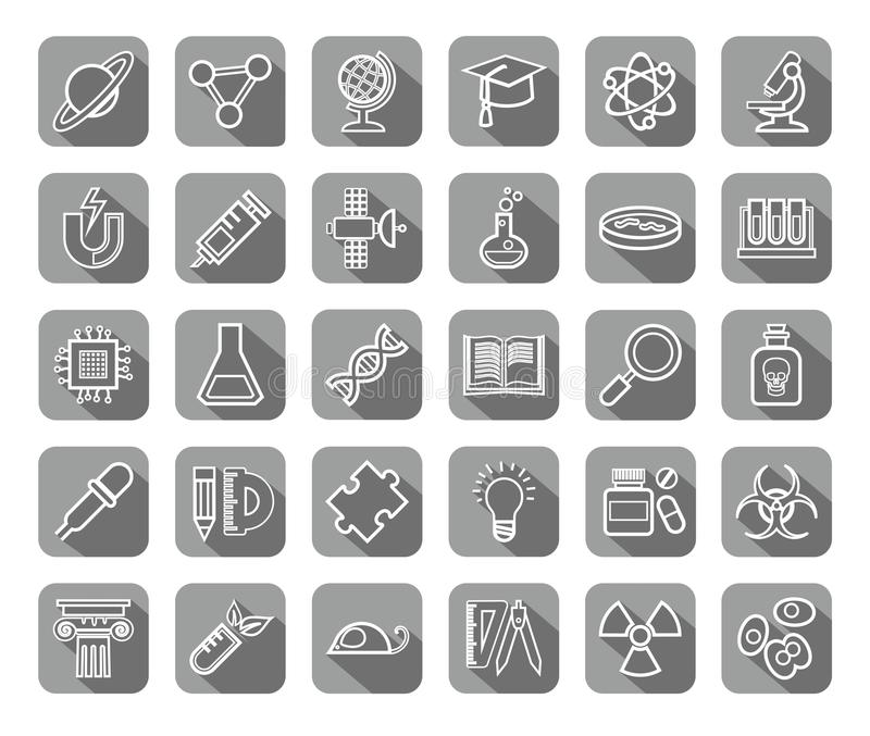 Science, icons, contour drawing, gray, vector. stock illustration
