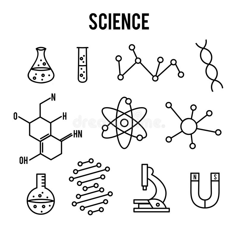 Free Science Icons On White Background. Research Outline Icon. Tiny Line Vector Elements Stock Images - 95658554