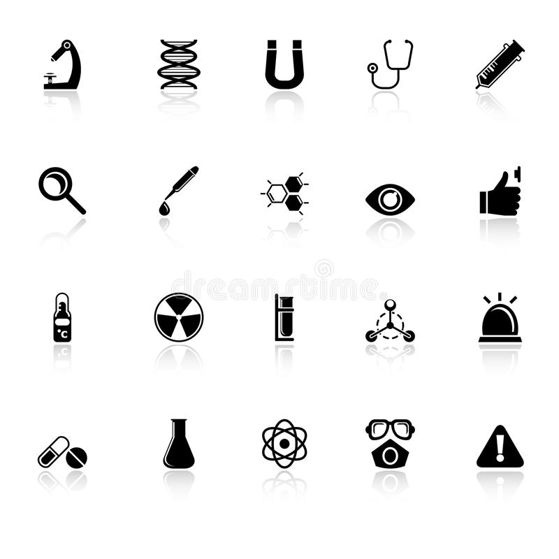 Science Icons With Reflect On White Background Royalty Free Stock Photography
