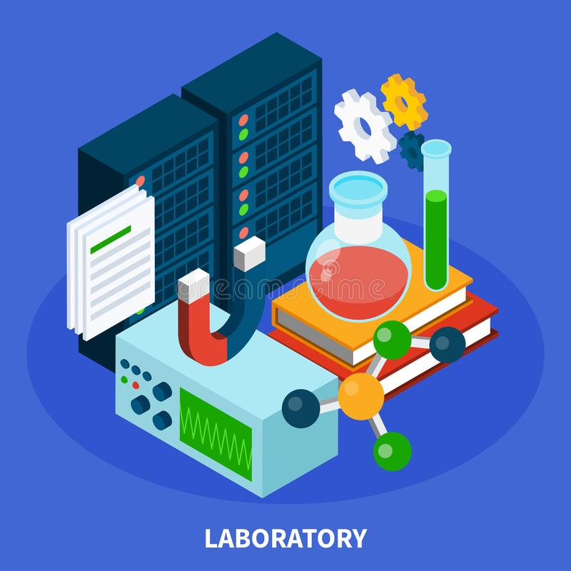 Science Isometric Concept Illustration stock illustration