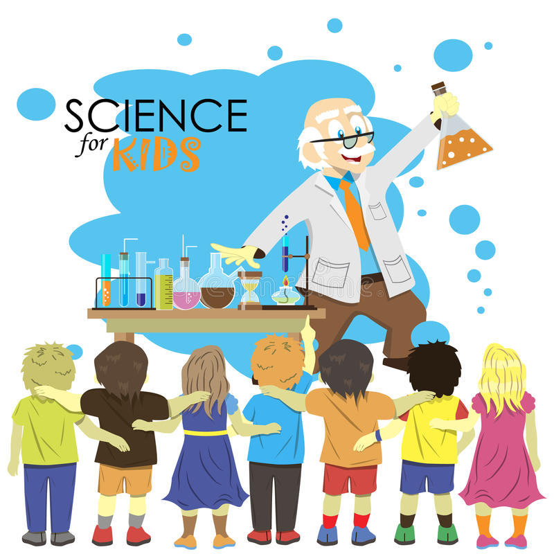 science cartoon scientist shows vector experiment illustration chemistry children laboratory kid social studying education working learning royalty doodle chalk symbols