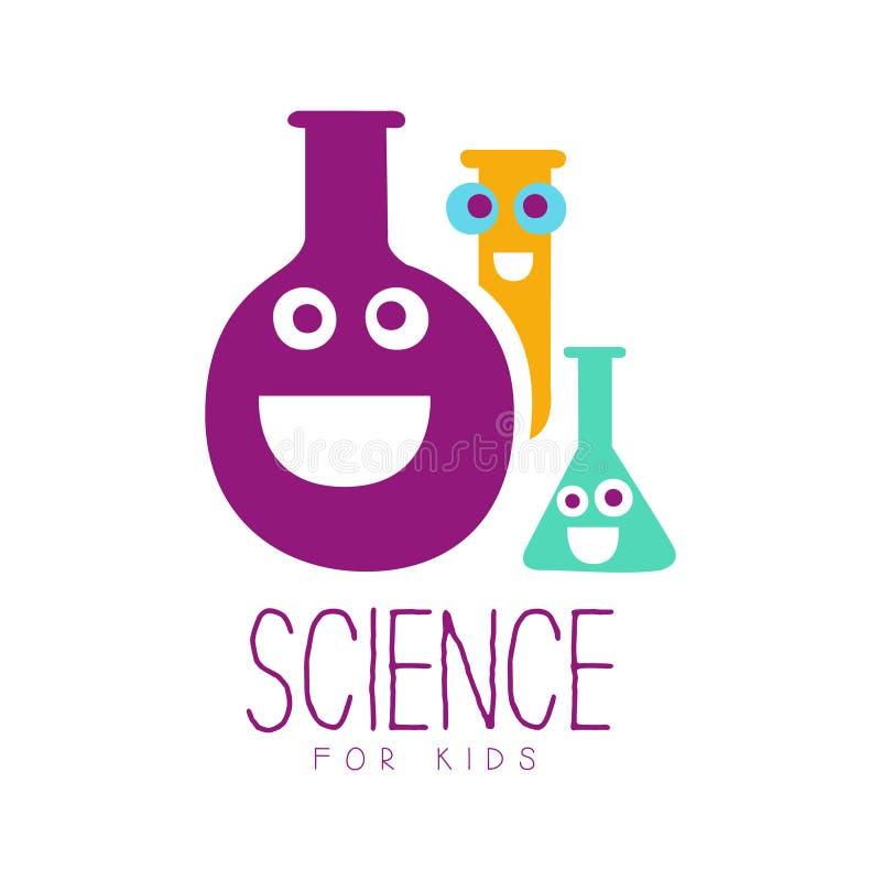 Science for kids logo symbol. Colorful hand drawn label vector illustration