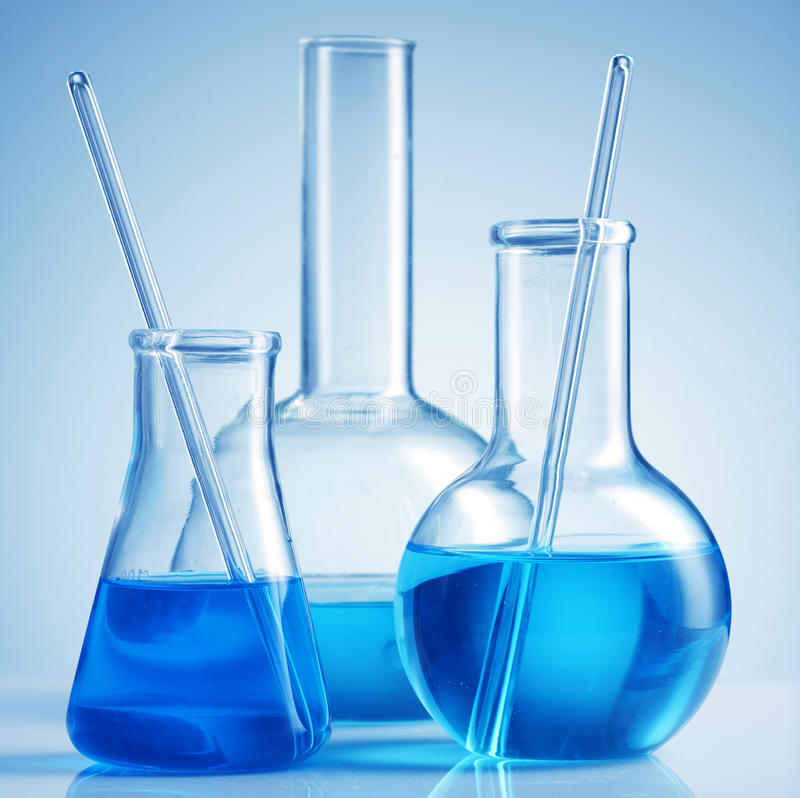 Science lab chemicals royalty free stock images